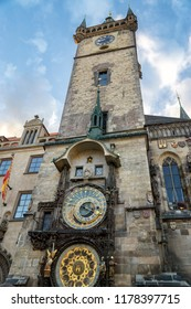 PRAGUE, CZECH REPUBLIC, JULY 6,2016: Exterior shot of Prague astronomical clock, a medieval astronomical clock  first installed in 1410, making it the third-oldest astronomical clock in the world.