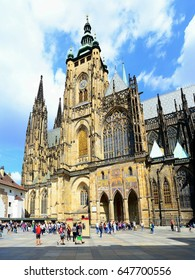 PRAGUE, CZECH REPUBLIC - JULY 7: St. Vitus Cathedral in Prague town on July 7, 2016. Prague is the capital city of the Czech Republic.