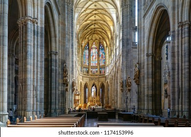PRAGUE, CZECH REPUBLIC, JULY 7,2016: Interior detail from St. Vitus Cathedral, a Roman Catholic metropolitan cathedral in Prague, the seat of the Archbishop of Prague,insi
