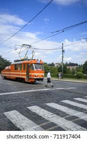 PRAGUE CZECH REPUBLIC - JULY 8: Tram at  street in Prague Czech Republic on July 8 2017