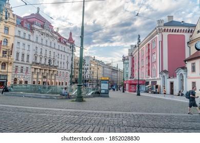 Prague, Czech Republic - July 9, 2020: Namesti Republiky (Republic Square) is a city square.