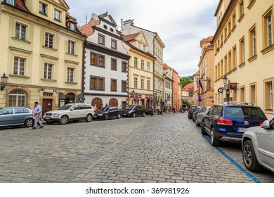 PRAGUE, CZECH REPUBLIC - JUN 08, 2015: Buildings and houses in the historical center. PRAGUE, CZECH REPUBLIC