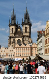 Prague, Czech Republic Jun. 09. 2018: Church of Our Lady in front of Tyn .