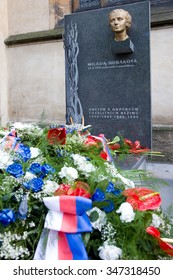 PRAGUE, CZECH REPUBLIC - JUN 29, 2013: Dr. Milada Horakova memorial at Slavin, National cemetery, Vysehrad, Prague, Czech Republic. She was  politician executed by Communists on charges of conspiracy.