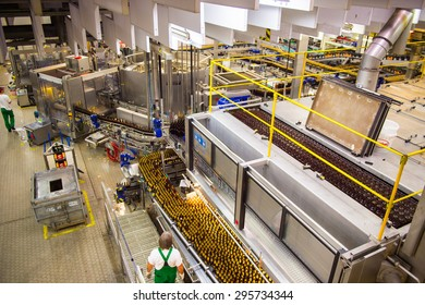 PRAGUE, CZECH REPUBLIC - JUN 30, 2015: Brewery of the Krusovice beer. Krusovice is popular  and famous worldwide Czech beer
