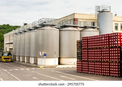 PRAGUE, CZECH REPUBLIC - JUN 30, 2015: Boxes with beer near the Brewery of the Krusovice beer. Krusovice is popular  and famous worldwide Czech beer