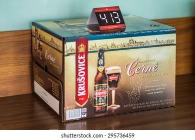 PRAGUE, CZECH REPUBLIC - JUN 30, 2015: Krusovice beer. Krusovice is popular  and famous worldwide Czech beer