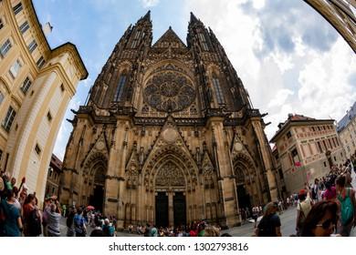Prague Czech Republic Jun 8 2018: The Royal Castle and St. Vitus Cathedral. Major destination for many tourists, also UNESCO heritage.