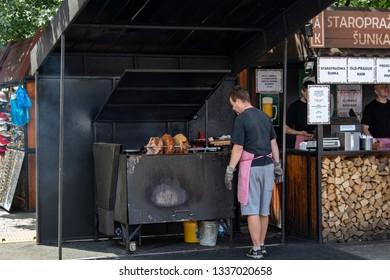 Prague Czech Republic Jun 8 2018:  A cook at the popular hams street food festival in Prague