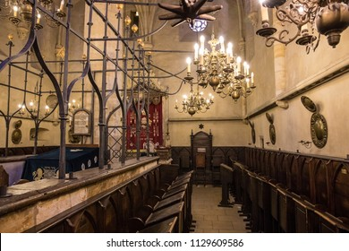 PRAGUE, CZECH REPUBLIC - JUNE 01: Interior of the Old new synagogue on June 01, 2018 in Prague