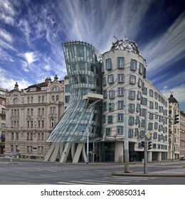 PRAGUE, CZECH REPUBLIC - JUNE 03: Dancing House on June 03, 2012 in Prague. Also known as The Dancing House or Fred and Ginger.