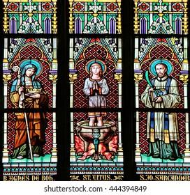 PRAGUE, CZECH REPUBLIC - JUNE 05, 2016: Stained-glass Window in St. Vitus Cathedral, Prague, Czech Republic