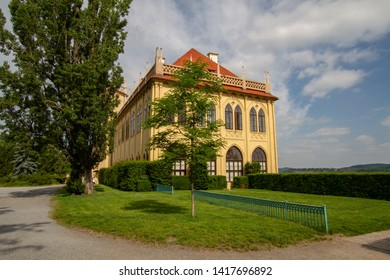 """Prague, Czech republic - June 06 2018: Governor's Summerhouse in """"Stromovka"""" park. The former castle, later rebuilt in renaissance and neogothic styles, is used by the National Museum Library."""