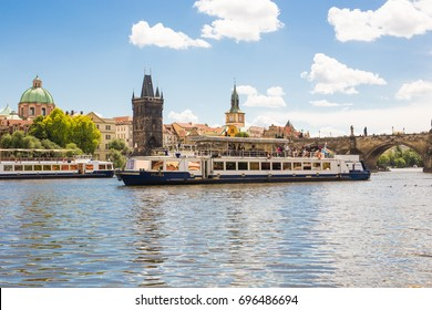 PRAGUE, CZECH REPUBLIC - June 07, 2017: View of the Vltava river , buildings and The Charles Bridge