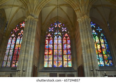 PRAGUE, CZECH REPUBLIC - JUNE 08, 2017 : Stained glass windows in St Vitus cathedral in Prague designed by famous artist Alfons Mucha