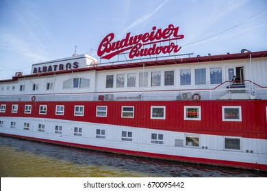 PRAGUE, CZECH REPUBLIC - JUNE 09, 2017: Floating Botel Albatros hotel on the Vltava river.
