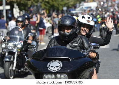 Prague, Czech Republic - JUNE 10, 2017: Showing motorcycles from Harley Davidson.Bikers driving through the streets during Harley days