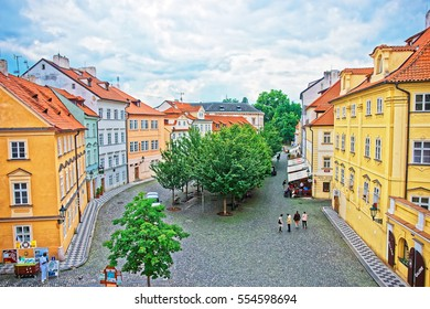 Prague, Czech Republic - June 10, 2012: People on Na Kampe square in Prague Old town, Czech Republic