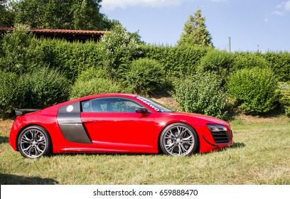 PRAGUE, CZECH REPUBLIC - JUNE 10th 2017: Side view of customized red Audi R8 car on display during annual Legendy car show on 10th June 2017 in Prague, CZE.