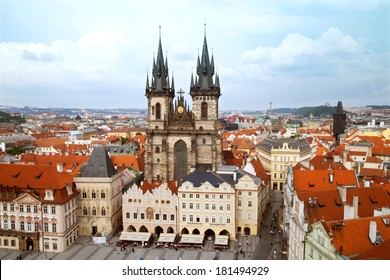 PRAGUE, CZECH REPUBLIC - JUNE 13, 2012: Cathedral of our lady before Tyn on Old Town Square. Tyn Church is one of the most recognisable sights on Old Town Square. The towers are 80 metres tall.