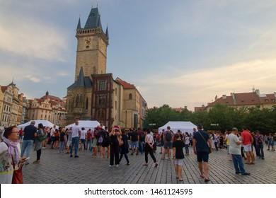 PRAGUE, CZECH REPUBLIC - June 14, 2019: View of Staromestske namesti square in Prague at dawn