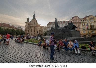 PRAGUE, CZECH REPUBLIC - June 14, 2019: View of Staromestske namesti square in Prage at dawn