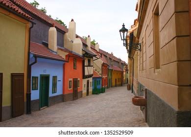 PRAGUE, CZECH REPUBLIC - JUNE 15, 2011: Famous golden lane 'Zlata Ulicka' in Prague Czech Republic where Franz Kafka was living.