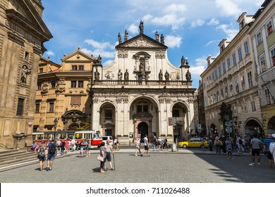 PRAGUE, CZECH REPUBLIC - JUNE 15, 2017: Exterior view of the St. Salvator Church in Prague on June 15, 2017. Its a part of the historic complex of buildings called the Clementinum.