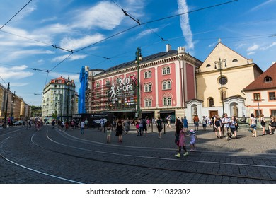 PRAGUE, CZECH REPUBLIC - JUNE 15, 2017: Exterior view of the shopping center Palladium in the city center of Prague on June 15, 2017. This shopping mall is one of the biggest in the Czech Republic.