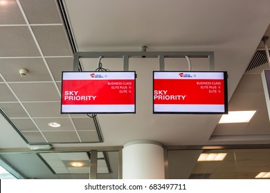 PRAGUE, CZECH REPUBLIC - JUNE 16, 2017: Sky priority pass way for passengers business and economic class.
