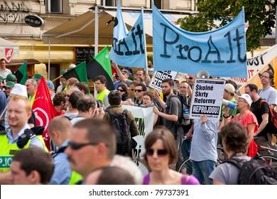 PRAGUE, CZECH REPUBLIC - JUNE 16: Transport union strike march in the center of Czech capital Prague on June 16, 2011.