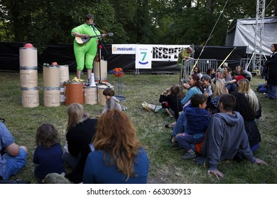 PRAGUE, CZECH REPUBLIC - JUNE 17, 2017: Petr Nikl dressed in a costume performs live on stage at 20th Respect Festival on June 17, 2017 in Prague, Czech Republic.
