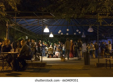 PRAGUE, CZECH REPUBLIC - JUNE 17, 2017: Nikolay Velikov (Bulgaria) and Radio Cos (band from Galicia) performs live during a concert at afterparty of 20th Respect Festival in Prague, Czech Republic.