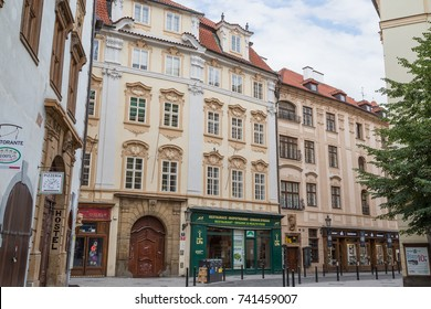 PRAGUE, CZECH REPUBLIC - JUNE 17, 2017: Old and beautiful buildings on the Melantrichova Street at the Old Town in Prague, Czech Republic.