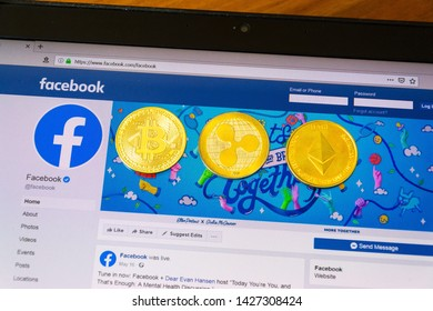 PRAGUE, CZECH REPUBLIC - JUNE 18 2019: Ripple, bitcoin, ethereum coins on homepage of Facebook launching digital wallet Calibra and cryptocurrency Libra on June 18, 2019 in Prague, Czech Republic.
