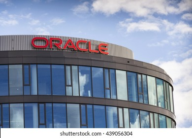 PRAGUE, CZECH REPUBLIC - JUNE 18: Second largest software company in the world Oracle corporation logo on the building of new Czech headquarters on June 18, 2016 in Prague, Czech republic.