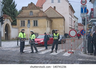 PRAGUE, CZECH REPUBLIC - JUNE 2: Policemen blocking off street in Malastrana, because of the flooding,  on June 2, 2013 in Prague, Czech Republic