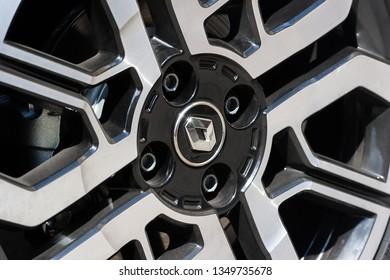 PRAGUE, CZECH REPUBLIC - JUNE 20, 2018: Wheel of Renault Clio Sport in Prague, Czech Republic, June 20, 2018.