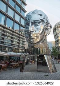 Prague, Czech Republic - June 2016. Outdoor sculpture The Head of Franz Kafka (Czech: Hlava Franze Kafky)