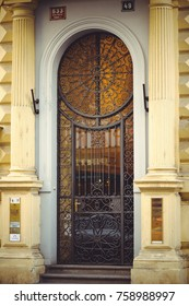 PRAGUE, CZECH REPUBLIC - JUNE 2016: beautiful metal doors in the old building