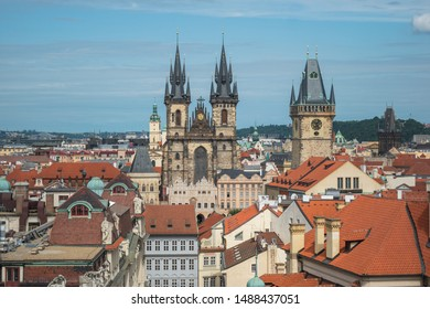 Prague, Czech Republic, June 2019 - cityscape of Prague capturing the beautiful Church of Our Lady before Týn, the tower of the Old Town Hall and the Powder Tower from an observatory at Clementinum