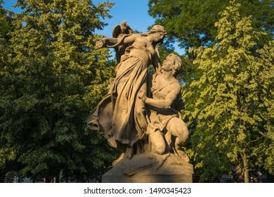 Prague, Czech Republic, June 2019 - view of a beautiful sculpture at Vysehrad Park