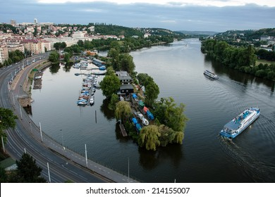 PRAGUE, CZECH REPUBLIC, JUNE 21, 2014 - Landscape of Vltava river from Vysehrad in early evening, Prague, Czech Republic