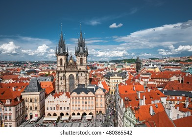 PRAGUE, CZECH REPUBLIC - JUNE 21, 2016:  Old Town Square and Church Of Our Lady Before Tyn