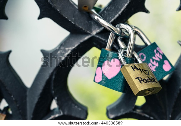 Prague, Czech Republic - June 21, 2016: Love padlocks on the Charles Bridge.