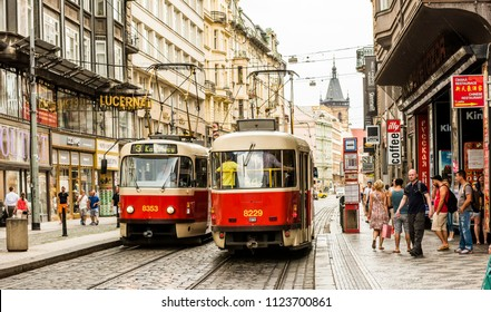 PRAGUE, CZECH REPUBLIC - JUNE 25,2016: Prague City Center. Red tram in Prague, Czech Republic.
