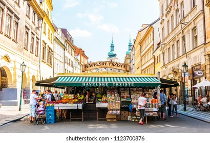 PRAGUE, CZECH REPUBLIC - JUNE 25,2016: Havel's Market (Havelske Trziste). Permanent marked in the center of Prague. Market has been continuously open since 1232. Prague, Czech Republic.