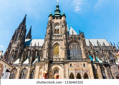 PRAGUE, CZECH REPUBLIC - JUNE 25,2016: St. Vitus Cathedral at Prague Castle. This cathedral is an excellent example of Gothic architecture and is the biggest and most important church in the country.