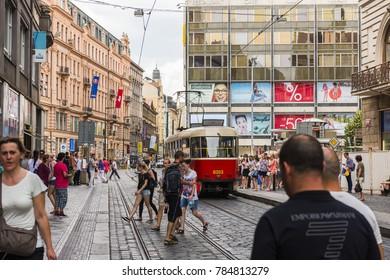 PRAGUE, CZECH REPUBLIC - JUNE 25,2016: Prague City Center. Red tram in Prague, Czech Republic.