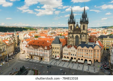 PRAGUE, CZECH REPUBLIC - JUNE 25,2016: Aerial view of Prague, Czech Republic.